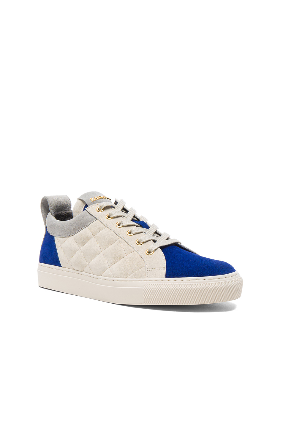 BALMAIN Quilted Suede Sneakers in Gray,Blue