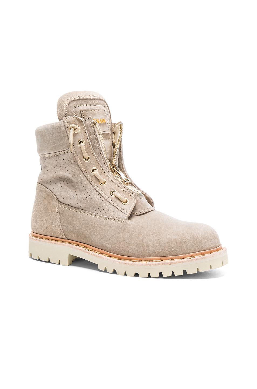 BALMAIN Suede Boots in Neutrals