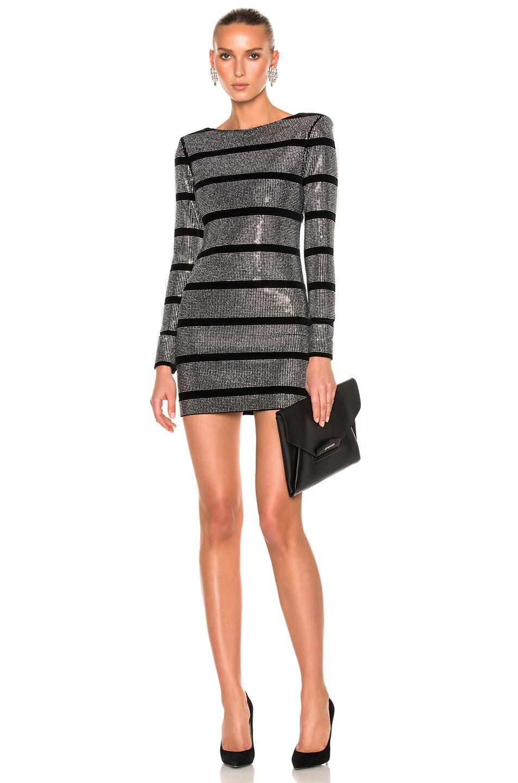 BALMAIN Velvet Embellished Mini Dress in Metallics,Stripes