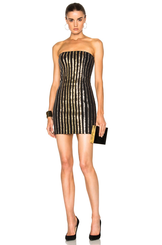 BALMAIN Strapless Sequin Mini Dress in Black,Metallics