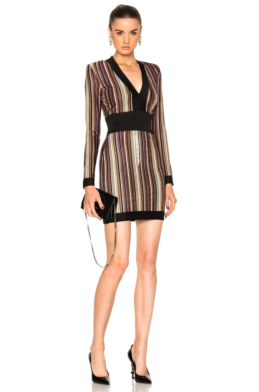 Photo of BALMAIN Striped Mini Dress in Black,Neutrals,Red,Stripes online sales