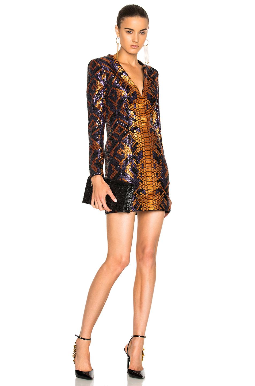 BALMAIN Snake Print Mini Dress in Metallics,Orange,Animal Print