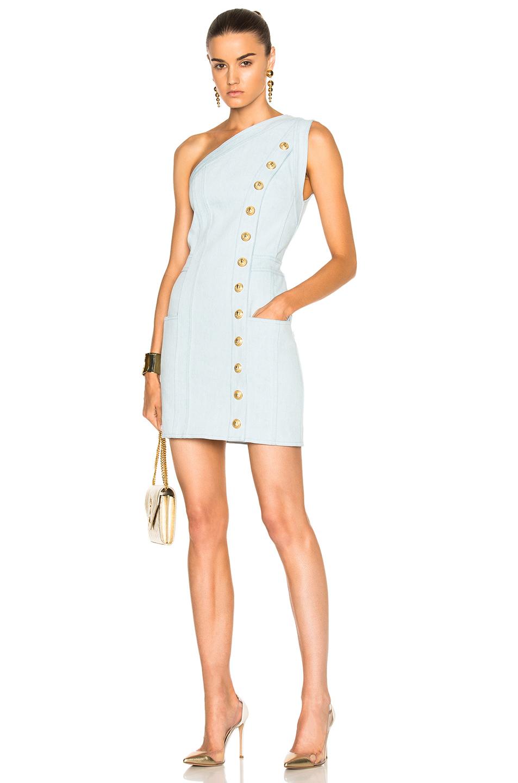 BALMAIN One Shoulder Denim Mini Dress in Blue