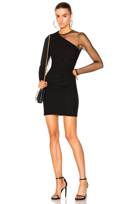 BALMAIN Asymmetric Draped Dress in Black