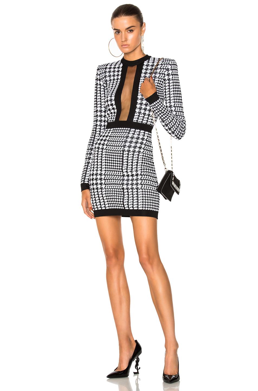 BALMAIN Printed Sheer Panel Mini Dress in Black,Geometric Print,White