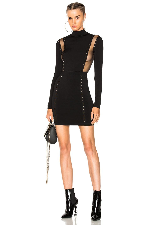 BALMAIN Studded Mini Dress in Black