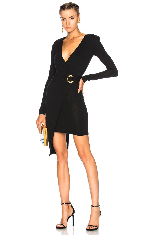 BALMAIN Asymmetric Wrap Dress in Black
