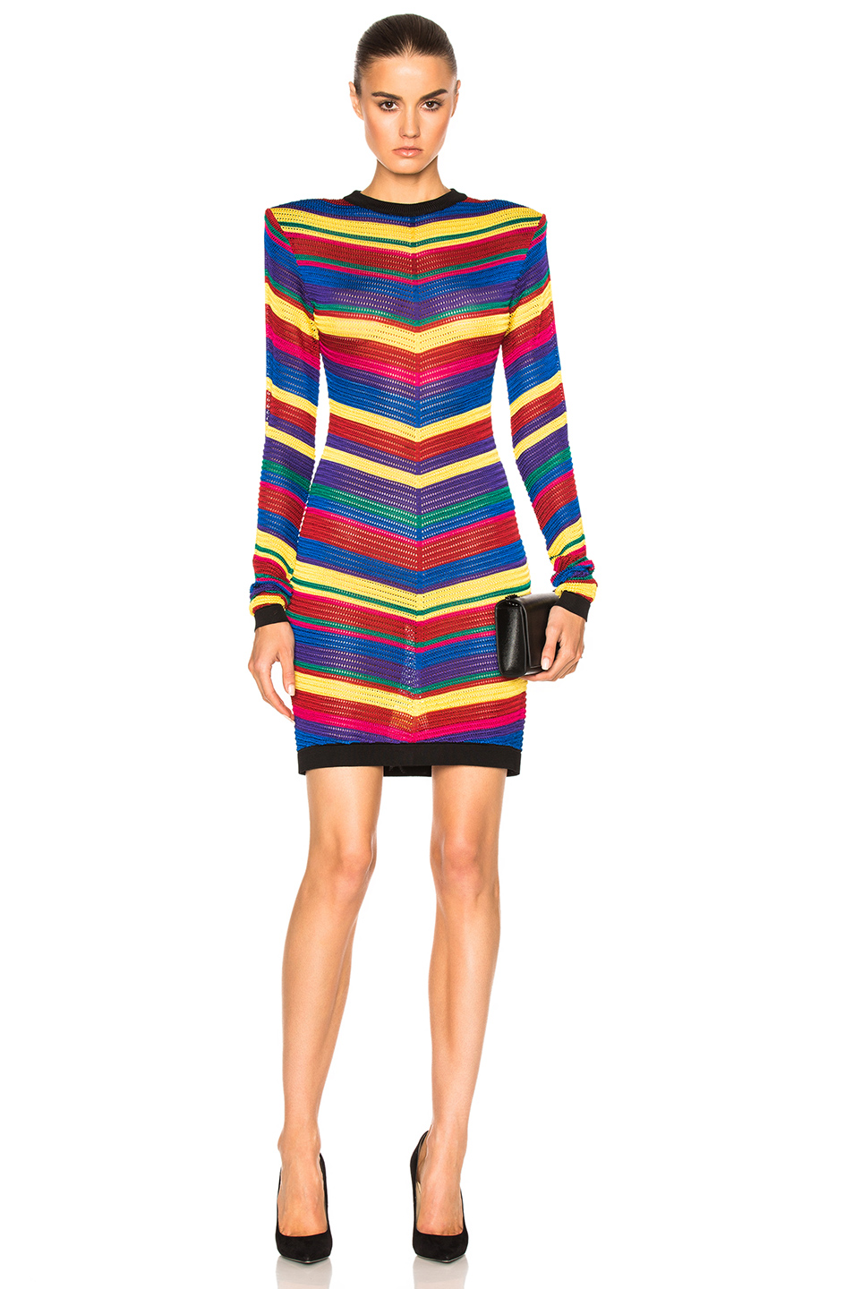 Photo of BALMAIN Stripe Dress in Abstract,Purple,Yellow online sales