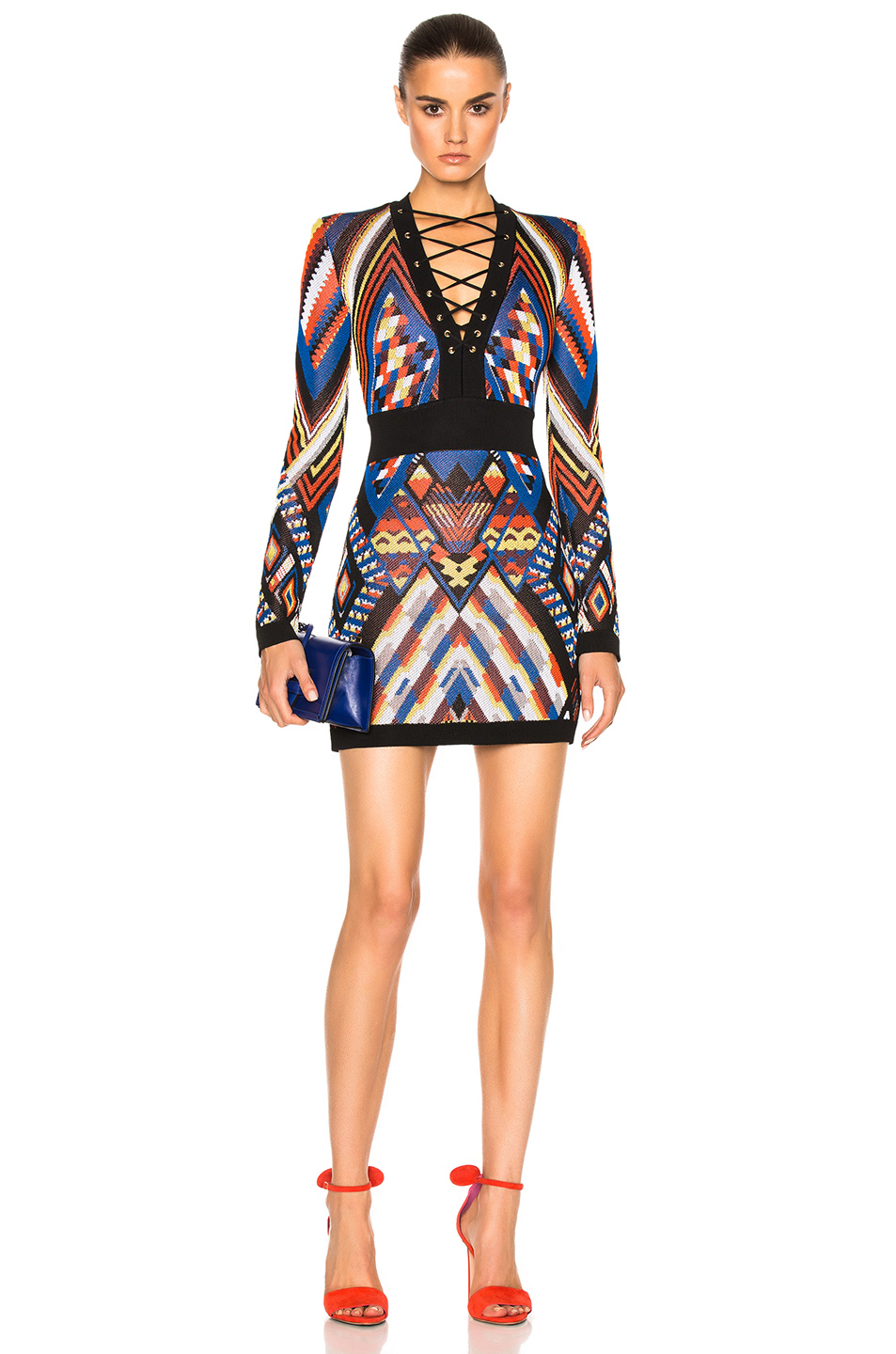 BALMAIN Lace Up Mini Dress in Abstract,Black,Blue,Orange