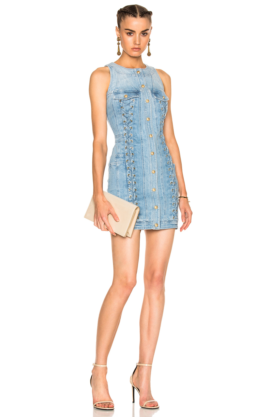 BALMAIN Lace Up Denim Mini Dress in Blue