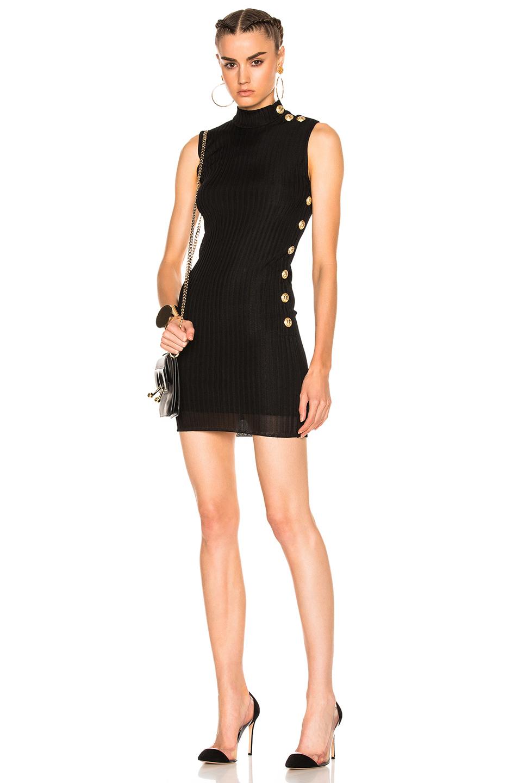 BALMAIN Knit Mini Dress in Black