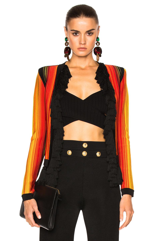 BALMAIN Stripe Jacket in Black,Red,Stripes,Yellow