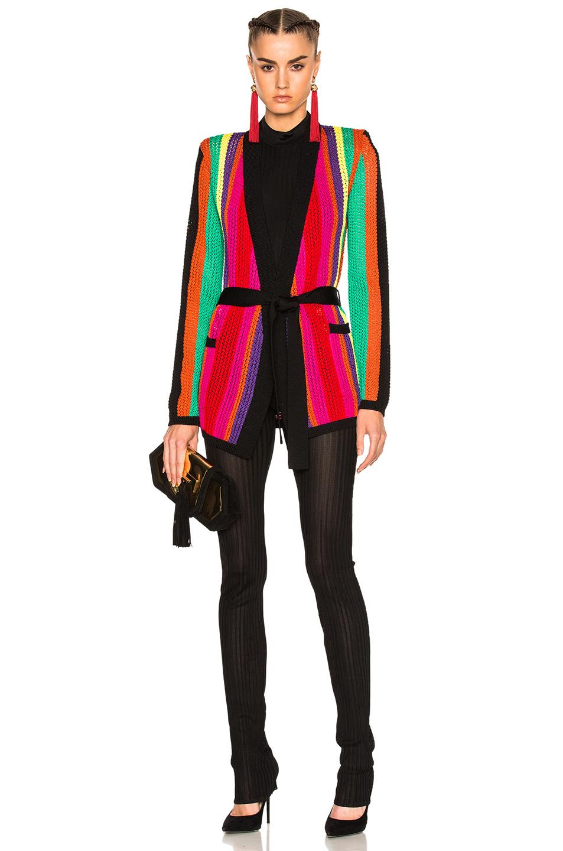 BALMAIN Stripe Knit Jacket in Abstract,Black,Green,Orange,Pink,Purple
