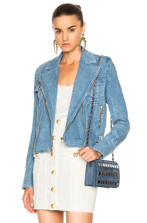 BALMAIN Denim Moto Jacket in Blue