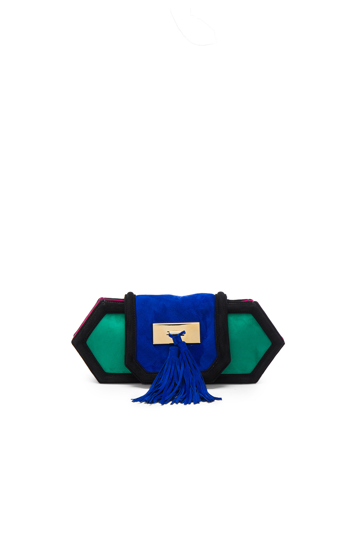 BALMAIN Killari Clutch in Green,Blue,Pink