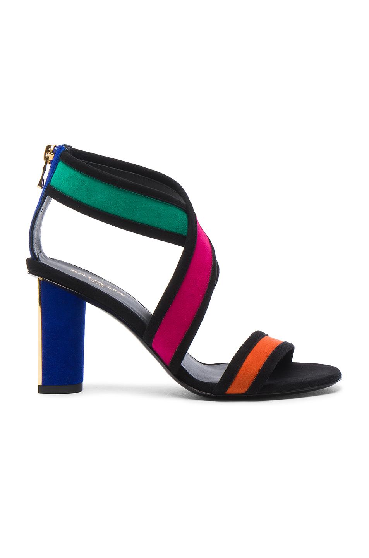 BALMAIN Suede Talon Strap Sandals in Black,Green,Orange,Pink