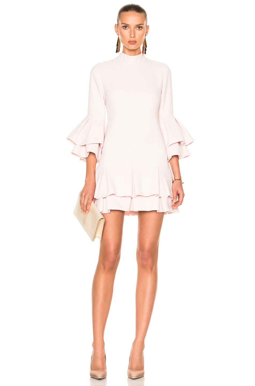 Brandon Maxwell Ruffle Hem Mini Dress in Pink