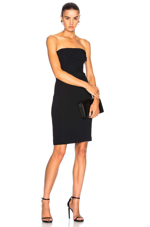 Brandon Maxwell Mini Dress with Layered Petal Bodice in Black