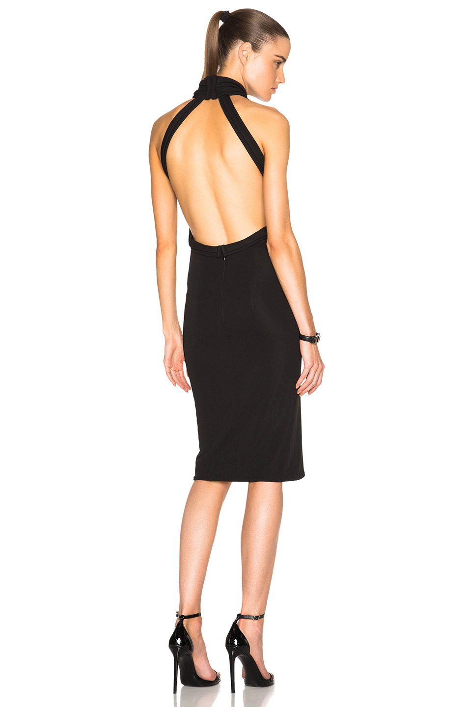 Brandon Maxwell Halter Midi Dress in Black