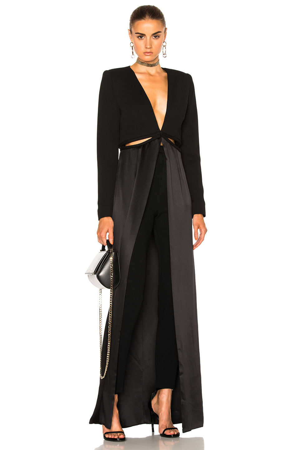 Brandon Maxwell Cut Out Coat Top in Black