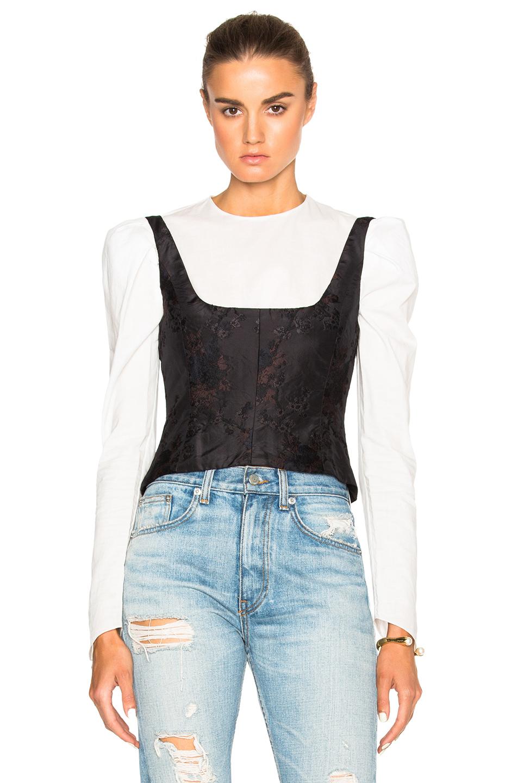 Brock Collection Berenice Bustier Top in Black,Floral