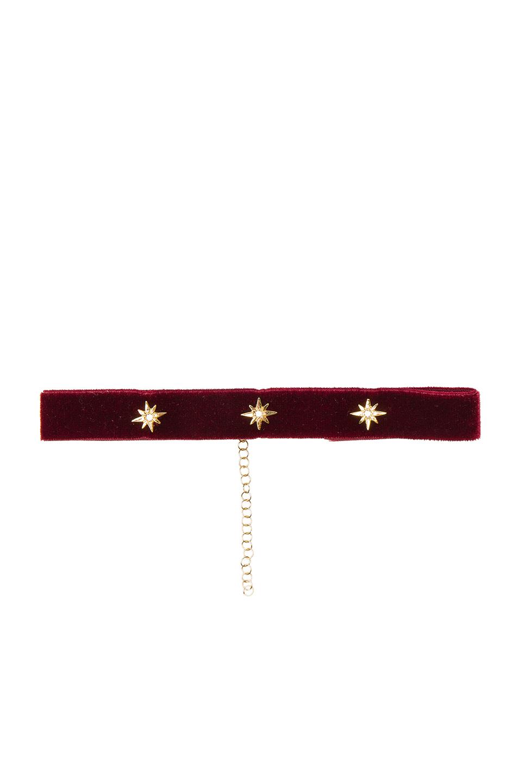 Bartoli Starburst Crushed Velvet Choker in Red