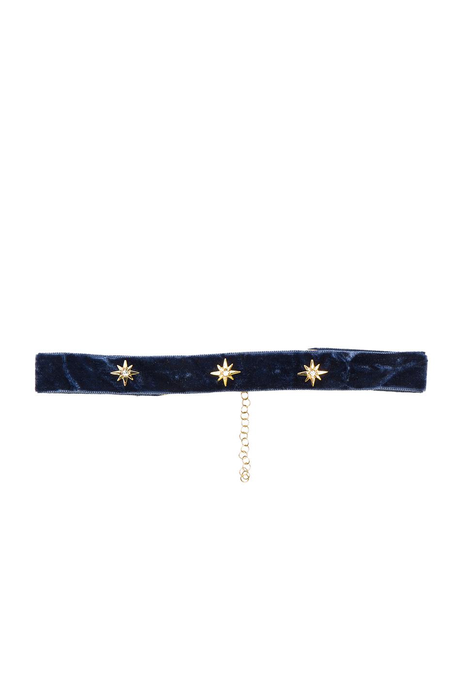 Bartoli Starburst Crushed Velvet Choker in Blue
