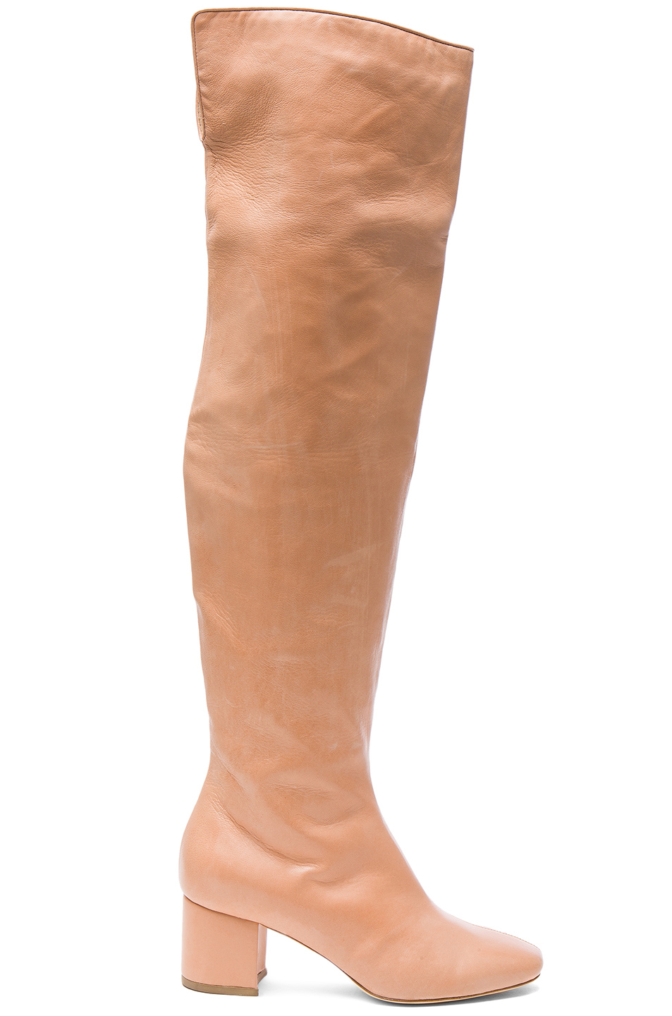 Brother Vellies for FWRD Over the Knee Leather Kaya Boots in Pink,Neutrals