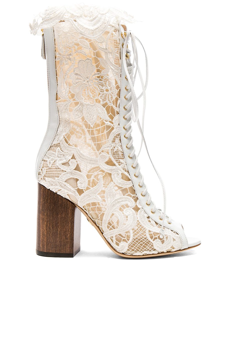 Brother Vellies for FWRD Exclusive Lace Open Toe Lali Boots in White