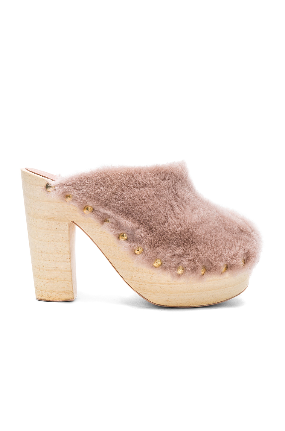 Brother Vellies Sheep Shearling Clog Heels in Pink
