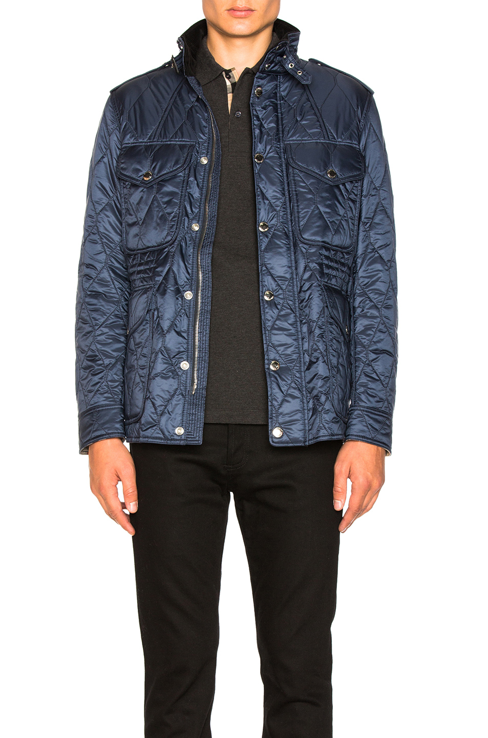 Burberry Quilted Field Jacket in Blue