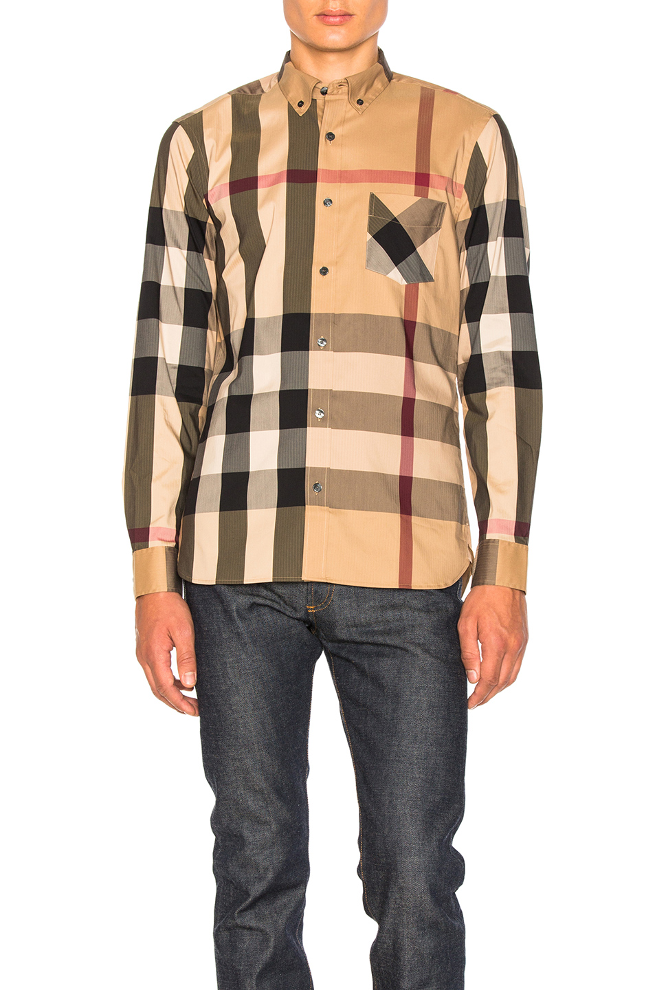 Burberry Herringbone Stretch Giant Check Shirt in Checkered & Plaid,Neutrals
