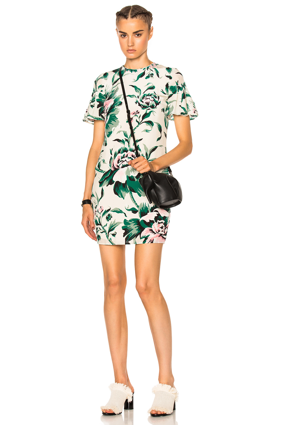Burberry Flare Sleeve Shift Dress in Floral,Green