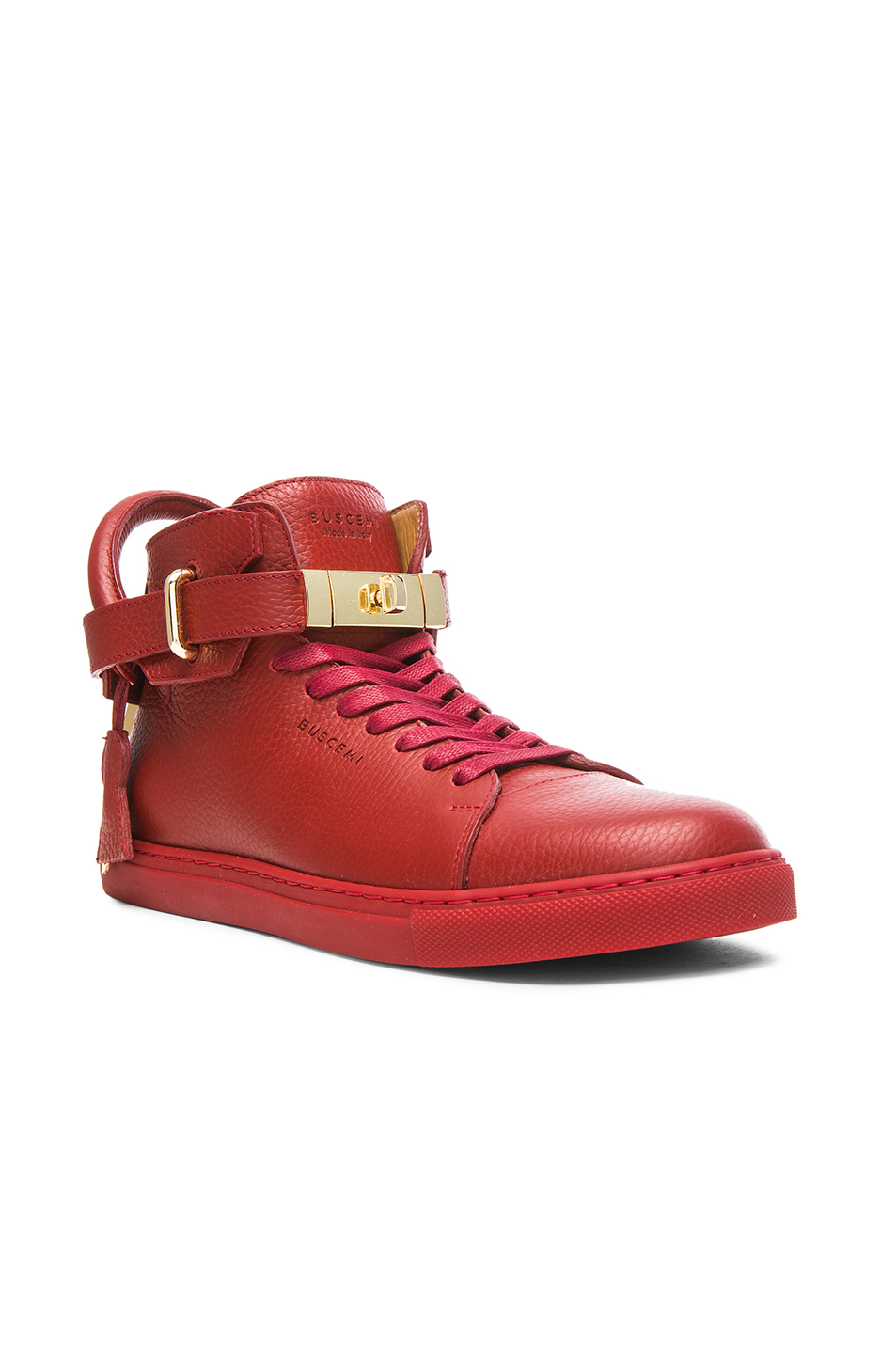 Buscemi 100 MM High Top Leather Sneakers in Red