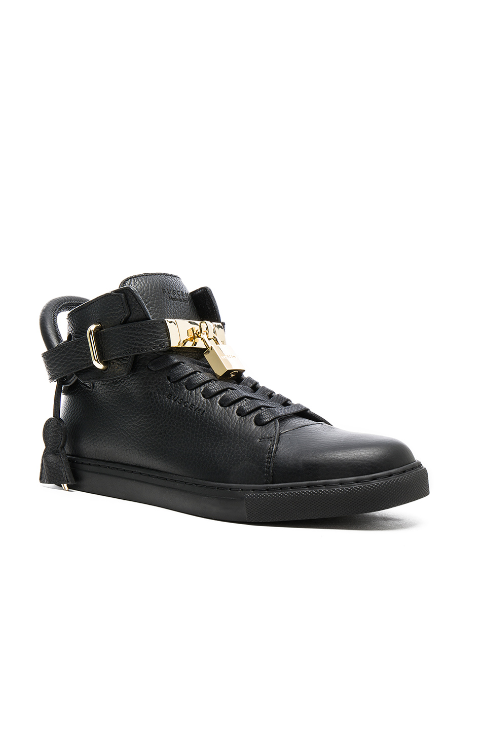 Buscemi 100MM High Top Pebbled Leather Sneakers in Black
