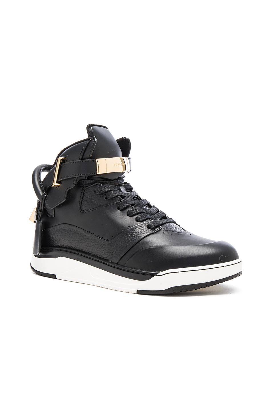 Buscemi B Court Leather Sneakers in Black