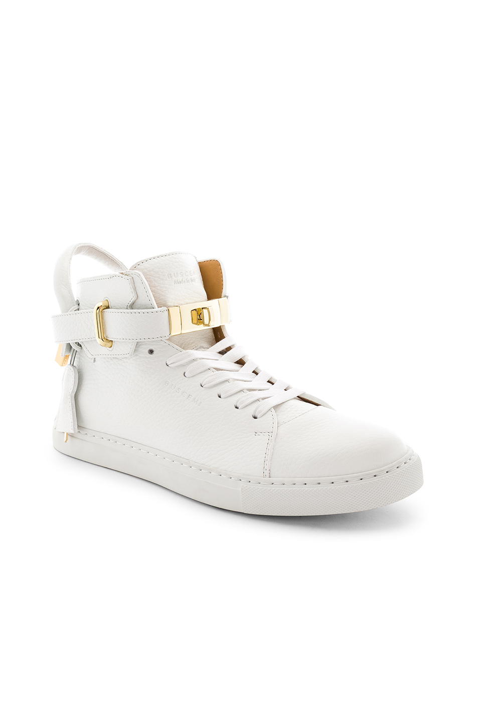 Buscemi 100MM High Top Pebbled Leather Sneakers in White