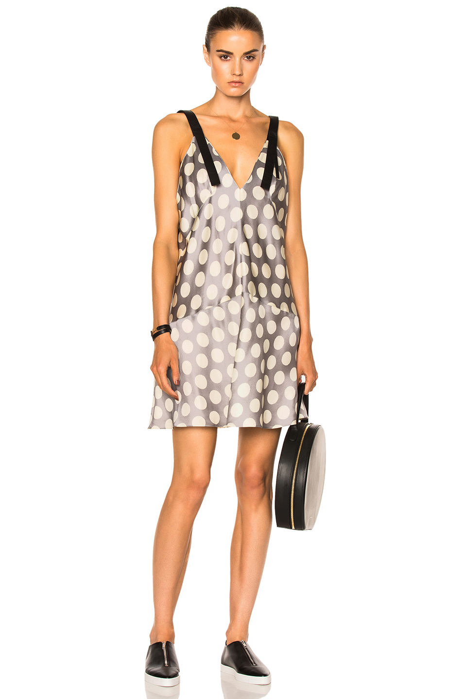 Calvin Klein Collection Knox Multi Print Crew Neck Dress in Gray,Metallics,Neutrals,Polka Dots