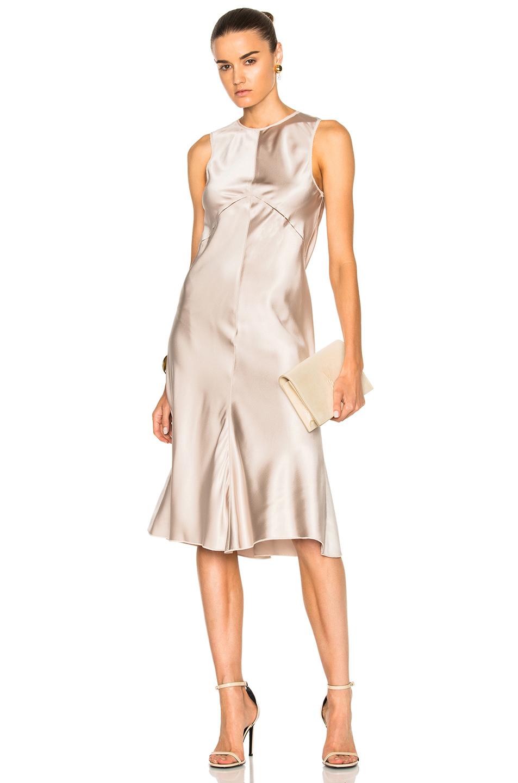 Calvin Klein Collection Lamica Silk Satin Gown in Metallics,Neutrals