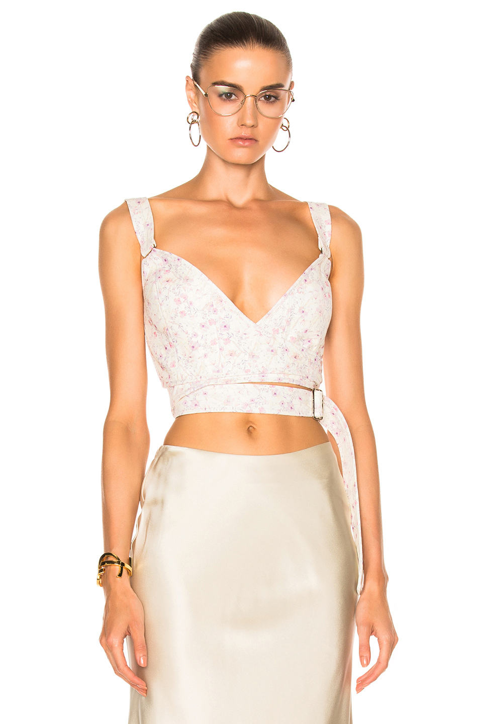 Calvin Klein Collection Linnetra L Faded Leather Floral Bouquet Bustier in Floral,White