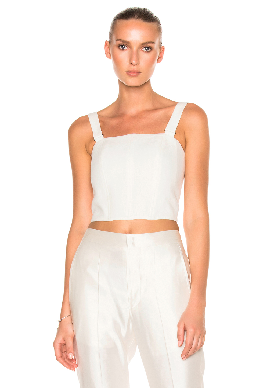 Calvin Klein Collection Laura Herringbone Linen Top in White