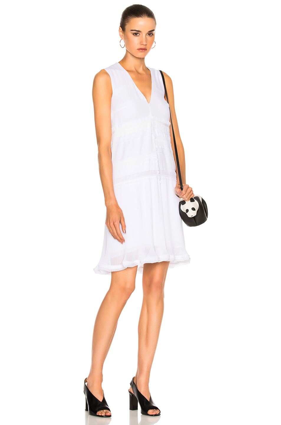 Carven Pleated Mini Dress in White