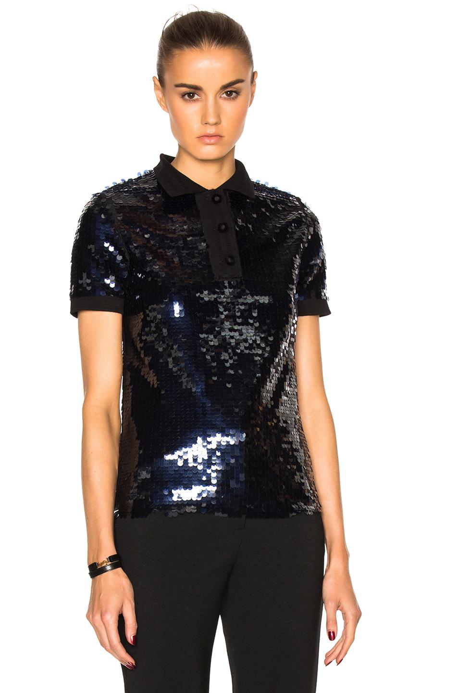 Carven Sequin Tee Shirt in Blue