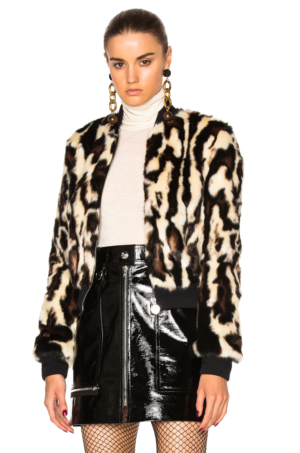 Carven Faux Fur Jacket in Animal Print