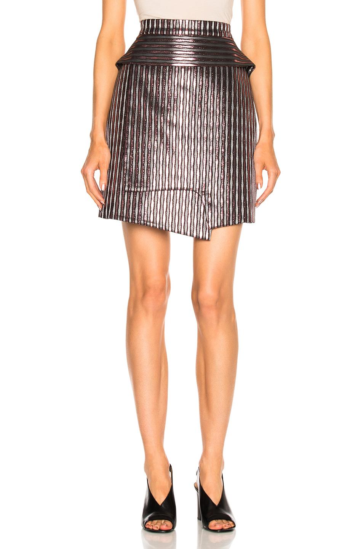Carven Striped Mini Skirt in Metallics,Stripes