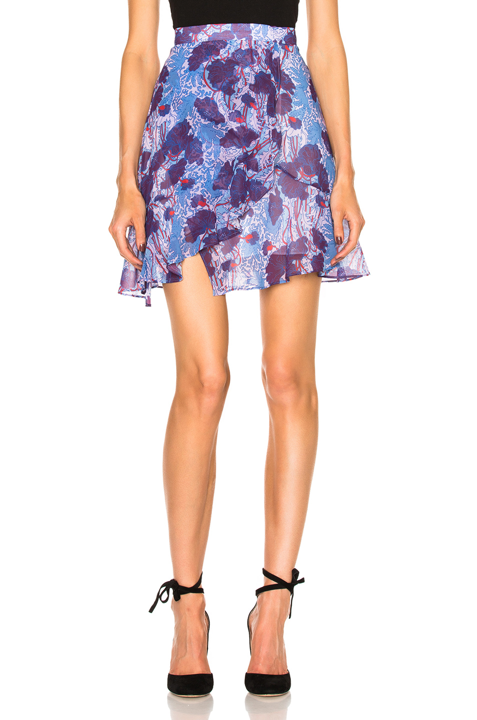 Carven Floral Mini Skirt in Blue,Floral,Purple
