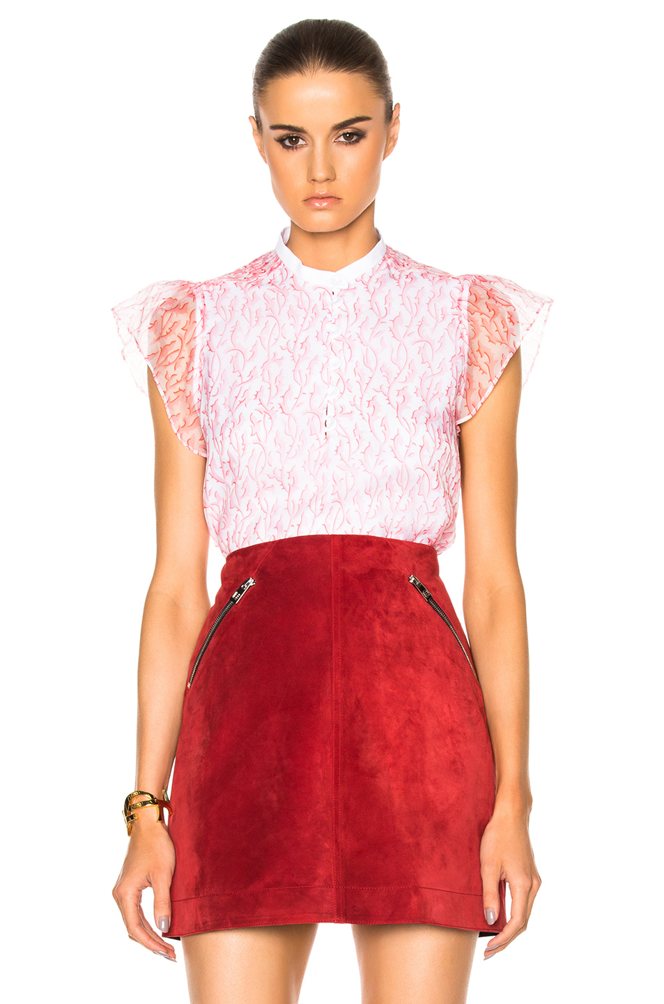 Carven Short Sleeve Top in Pink,Abstract