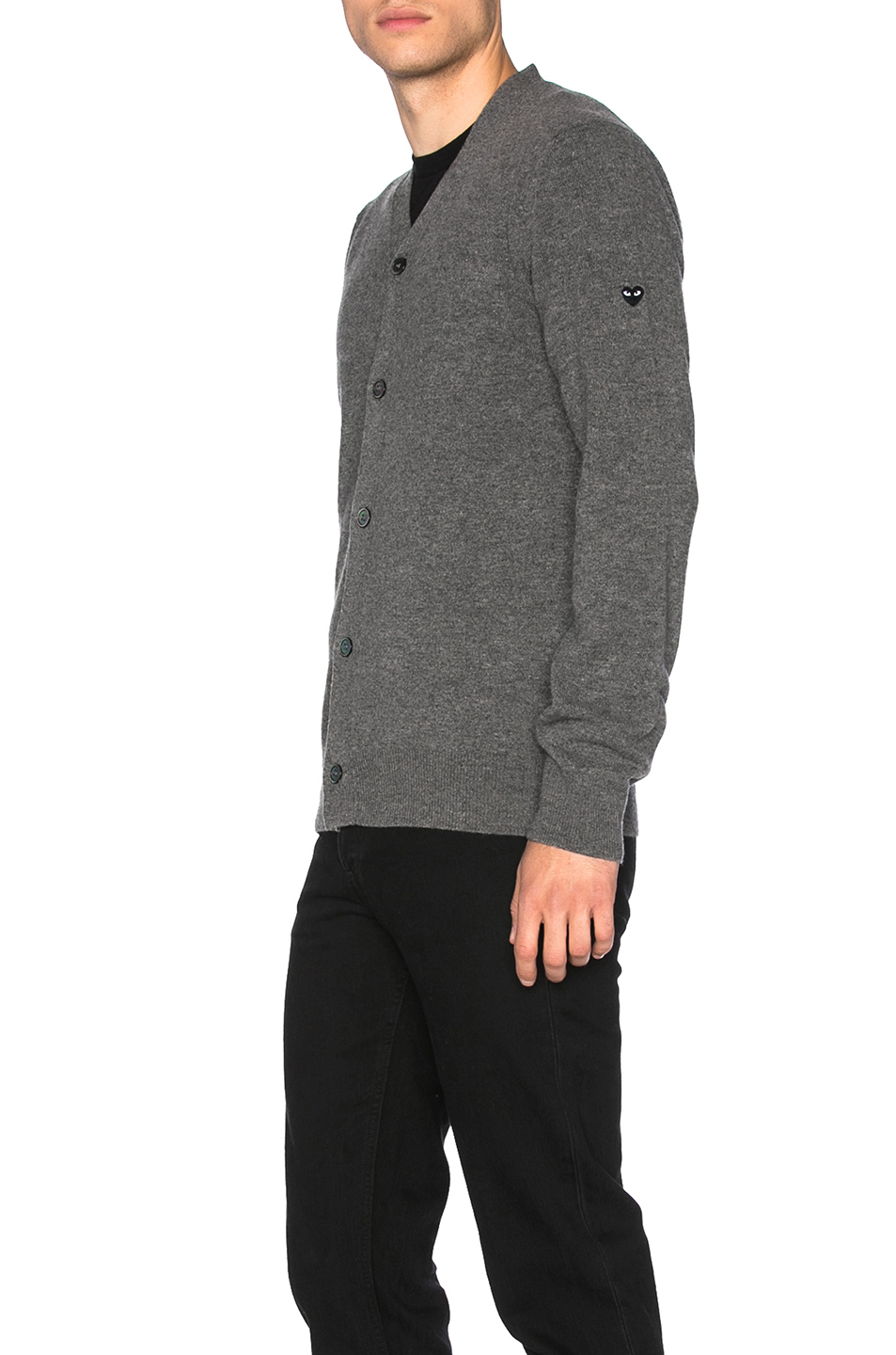 Photo of Comme Des Garcons PLAY Lambswool Cardigan with Small Black Emblem Sleeve in Gray - shop Comme Des Garcons PLAY menswear
