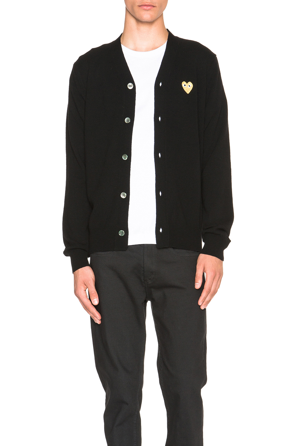 Comme Des Garcons PLAY Cardigan with Gold Emblem in Black