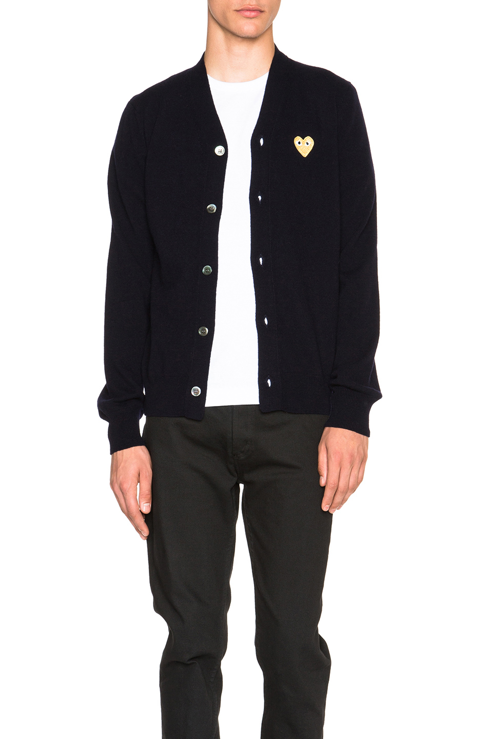 Comme Des Garcons PLAY Cardigan with Gold Emblem in Blue